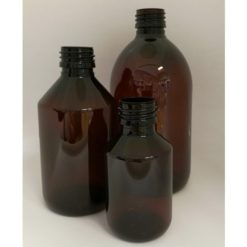 brun plastflaske